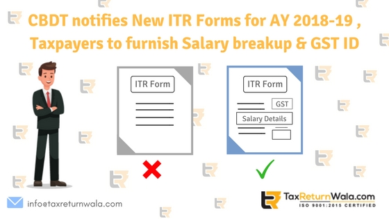 new itr forms, amended tax rules 2018, tax filing 2018 taxreturnwala, taxreturnwala, tax filing india,