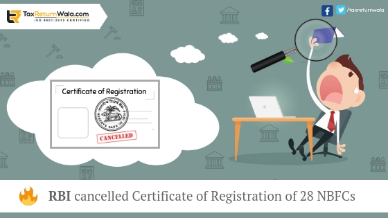NBFCs, Cerficate of registration , taxreturnwala, online tax payment online , tax filling online, gst payment online , RBI new policy, Rbi cancelled ROC , NBFCs licence cancelled