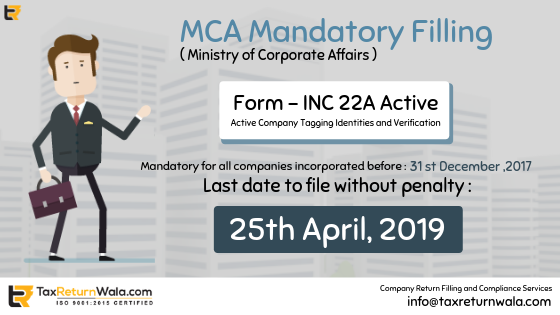 MCA Update: File Particulars or Get Penalised Form INC 22A Active